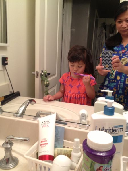 Brushing teeth with eyes closed. Nice, Mad.