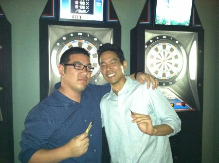 Two time, two time, two time dart champions!