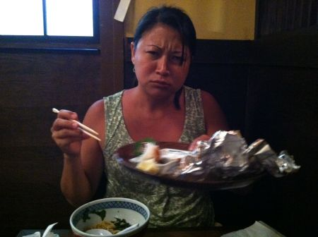 """Brah, try get dis plate out of my way so for I can try get one nahdah plate of food. Tanks, ah, mai lovah."" *shakas* -Lynnette Higa"