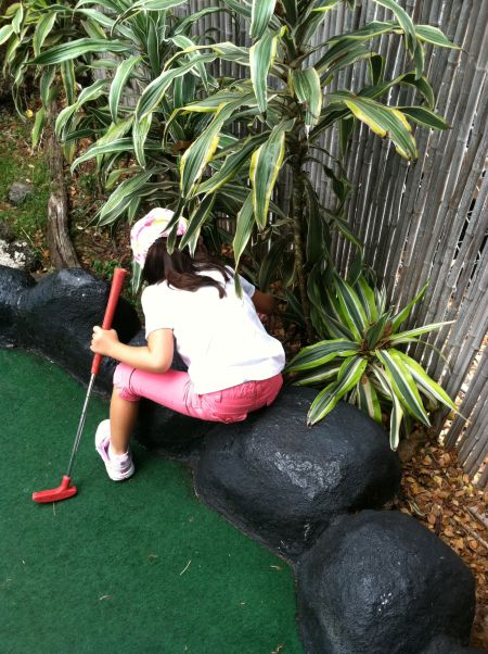 Side Game: Finding the neon pink golf ball in the bushes.