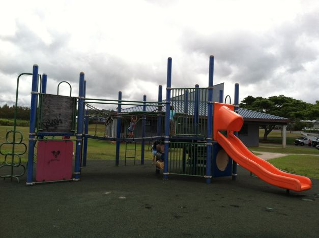 The playground's in the same spot,