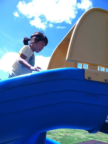 Based on the look on her face, instructing her to walk up the slide was like Bruce Willis finding out he was a ghost in The Sixth Sense. Her mind was blown.