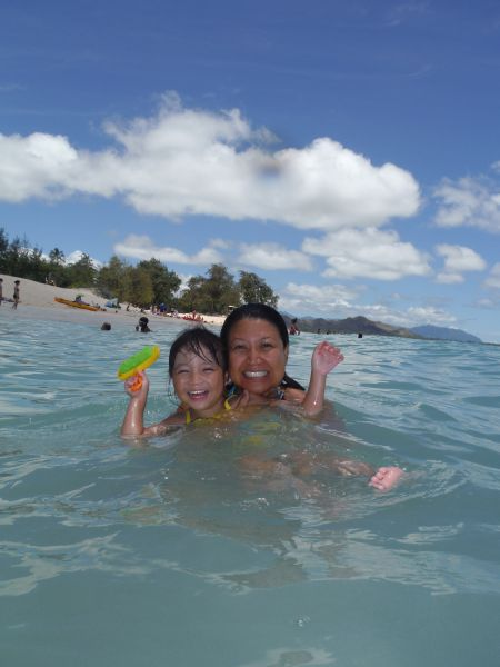 One of the best things about Kailua Beach: water warm enough for Lynnette.