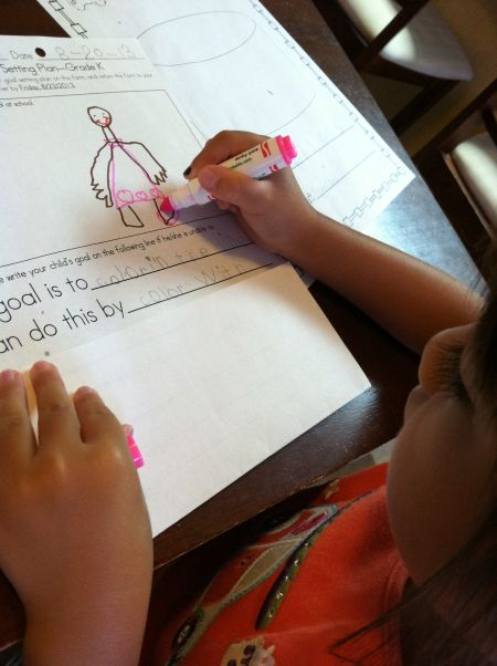 """""""Where are your feet?"""" """"I want to draw my pink sandals!"""""""