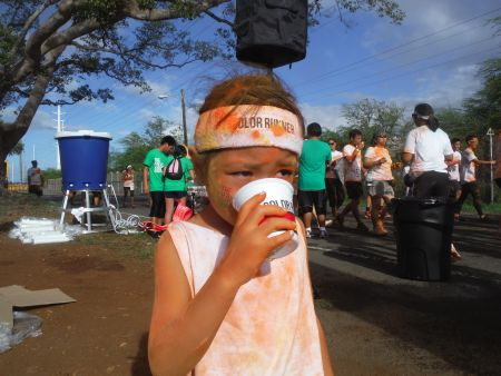 At the Color Run, where colored dust permeates the air, it's best just to not look at what you're drinking.