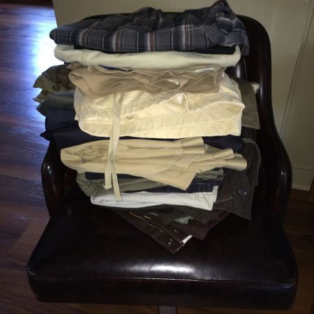 The cleaning left Al with a total of three pairs of pants, one of which are jeans.
