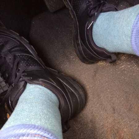 I forgot my athletic socks in my classroom. I can see it right now, resting atop a blue shirt in a neat stack on the printer. Damn it.
