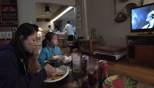 We had lunch at my parents' house because our softball game was cancelled.
