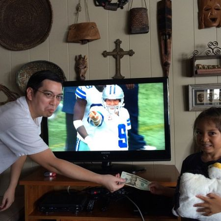 """Tony is pointing and smiling at your brother."" -Brandon Baguio, former student, fellow Cowboys fan"