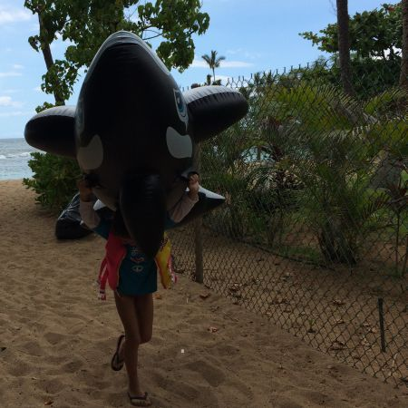 It's all fun and games until you have to carry your killer whale back to the car.